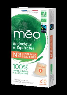 Capsules Compostables Torréfaction Equilibré N°8 Biologiques et équitables compatibles Nespresso®* x10