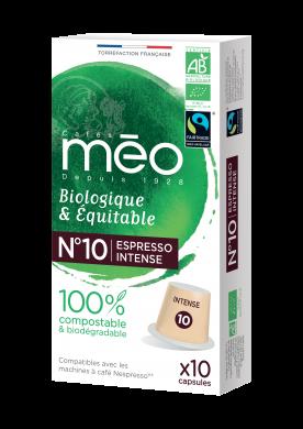 Capsules Compostables Torréfaction Intense N°10 Biologiques et équitables compatibles Nespresso®* x10